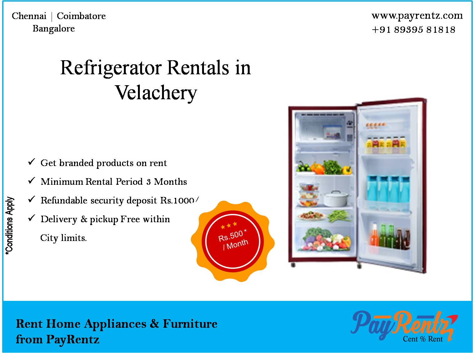 fridge, freezer, 190L fridge, single door fridge,