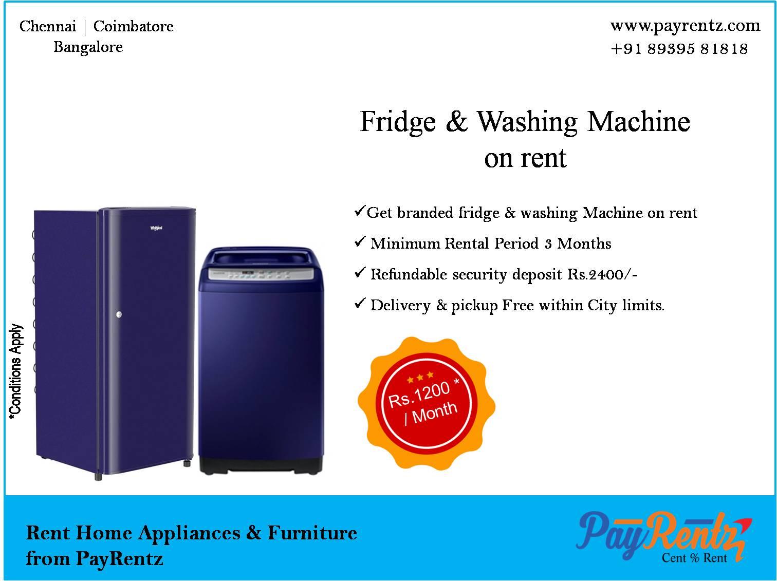 Small fridge, Top load washing Machine